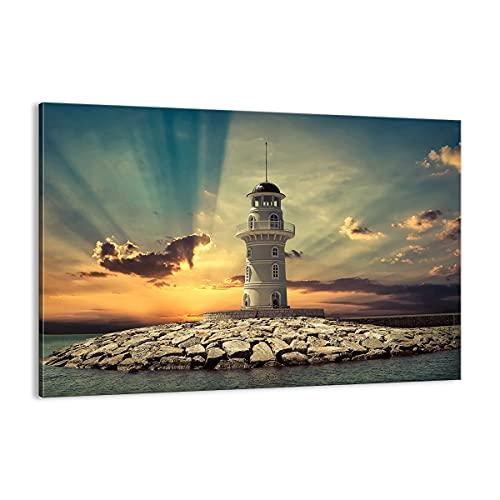 Quadro su tela - Elemento unico - Faro acqua mare pietre - 100x70cm - Pronto da appendere - Home Decor - Stampe su Tela - Quadri Moderni - completamente incorniciato - AA100x70-2895