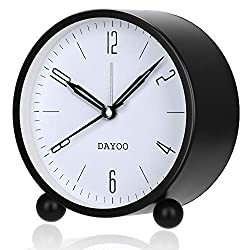 DAYOO Alarm Clock, 4 Inch Round Alarm Clock Non Ticking with Snooze, Battery Operated and Light Function, Super Silent Alarm Clock, Simple Stylish Design for Desk/Bedroom (Black)