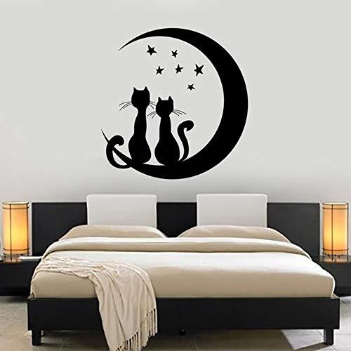 Tianpengyuanshuai Mond Sterne Katze Wandtattoos romantische Nacht Hauptdekoration Schlafzimmer Kinderzimmer Wand Vinyl Wandaufkleber abnehmbare 102x104cm