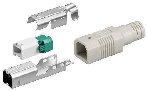 3er Set USB B-Stecker zur werkzeugfreien Crimp-Montage inkl. Tülle