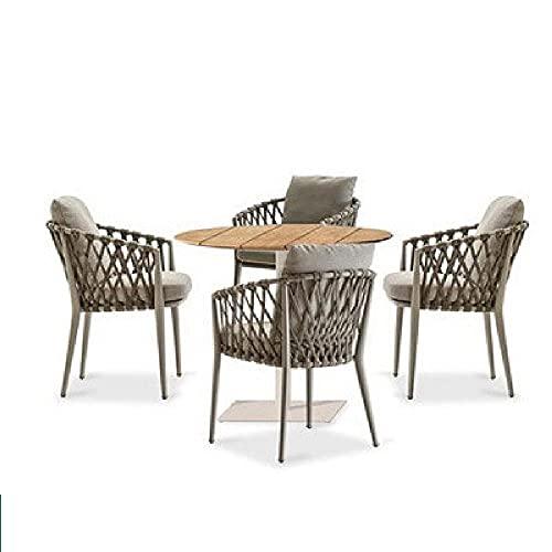 XIAOJU Gartenmöbel Terrassenset mit Wasserdichten 4 Stühlen mit hoher Rückenlehne weich gepolstert für Rasen, Innen, Außen, Wintergarten,A