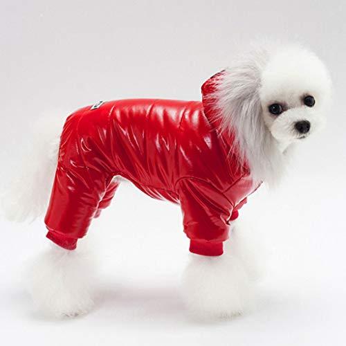 XZJJZ Mascotas Ropa para Perros algodón Invierno Espesar Disfraces Sudaderas con Capucha Ropa para Cachorros de Peluche Perros Abrigo de algodón (Color : Red, Size : Small)