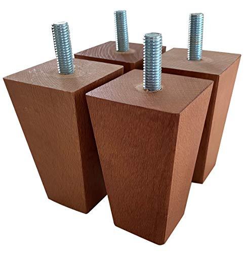 IPEA 4X Piedini per Mobili e Divani in Legno Quadrati – Set di 4 Gambe per Poltrone e Armadi – Piedi Masselli – Colore Noce, Altezza 90 mm