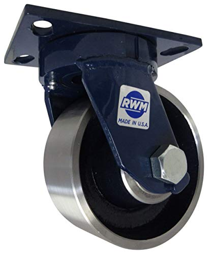 RWM Casters - 75-FSR-0625-S 75 Series Plate Caster, Swivel, Kingpinless, Forged Steel Wheel, Roller Bearing, 5000 lbs Capacity, 6