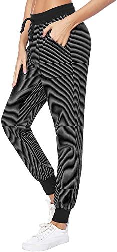 QIN.J.FANG-MY Pantalón de chándal para Mujer, pantalón Largo a Rayas Pantalón de Pijama de algodón Puro para Dormir Pantalón para Mujer