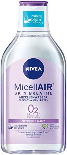 NIVEA Micellair Skin Breathe Mizellenwasser Sensible Haut (400 ml), pflegender Make-Up Entferner mit Dexpanthenol und Traubenkernöl, schonende Gesichtsreinigung