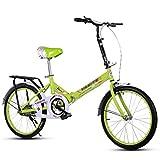 Bicicletas Plegables, Bicicletas Portátiles Permanentes, Portátiles Ultraligeras para Estudiantes Adultos, Ciclismo Urbano De 16 Pulgadas para Mujer con Canasta (Blanco, Azul, Rosa, Verde)