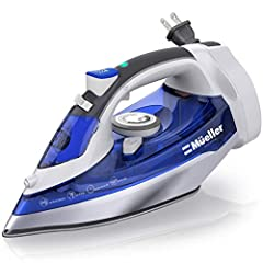 Faster Heating - Mueller Retractable Steam Iron only takes 3 seconds for steam to regenerate and reach max temperature in less than a minute much faster than traditional irons. Stainless Steel Soleplate - Effortlessly glides over fabrics and allows f...