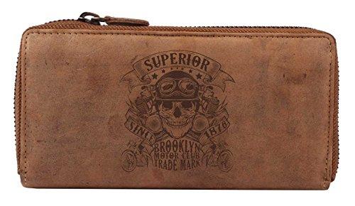 Greenburry Damen-Geldbörse mit Totenkopf Motiv - Rockabella Rockabilly Bikerbörse aus Leder - Leder-Geldbörse mit Skull Motiv - 19x10x2,5cm