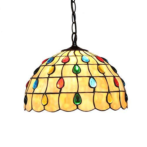 YALIXING Candelabros de Color - 12'Tiffany Pendant Light Phoenix Tail Beads Colgante Lámpara Villa de Vidrio Manchas de Luz para Bedroom Restaurant Café Luces Creativas de decoración del hogar