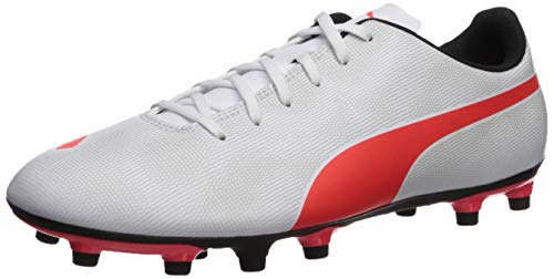PUMA mens Rapido Firm Ground Sneaker, Puma White-light Gray Heather-puma Black-red Blast, 10 US