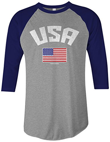 Threadrock USA American Flag Unisex Raglan T-Shirt XL Gray/Navy