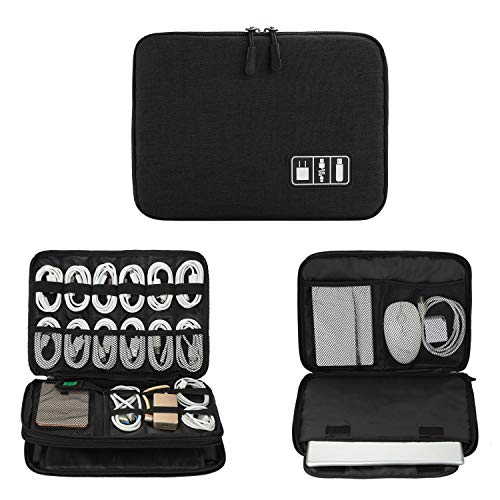 Electronics Organizer, Jelly Comb Electronic Accessories Cable Organizer Bag Waterproof Travel Cable Storage Bag for Charging Cables, Power Bank, iPad (Up to 11in and More-Large (All Black)