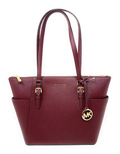 Michael Kors Charlotte Saffiano Leather Tote Handbag Shoulder Bag Purse, Merlot