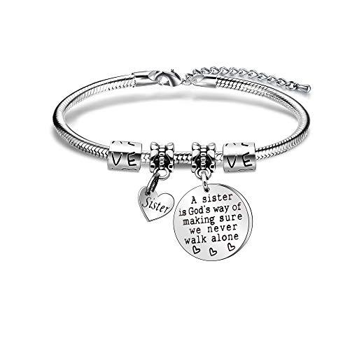"Angelra Schwester Geschenk Armband für Damen""A Sister is God's Way of Making Sure we Never Walk Alone""Armbander mit Gravur Geburtstags Freundschaft Geschenk"