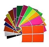 Royal Green Adesivi Rettangolari Colorati Assortiti 7,5x5 cm - Etichette Adesive Rettangolari Colorate Multiuso 75x50 mm - Confezione da 60 Pezzi