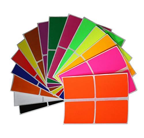 Aufkleber Bunt 75 mm x 50 mm rechteckige Sticker – Größe 7,5 cm x 5 cm viereckige Etiketten 60 Vorteilspack von Royal Green