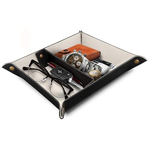 Londo - Leder-Organizer - praktische Aufbewahrungsbox für Brieftaschen, Uhren, Schlüssel, Münzen, Handys und Büroausrüstung