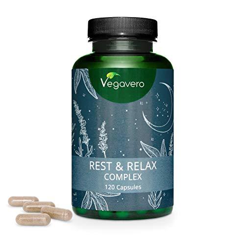 Complément Aide Sommeil Naturel Vegavero® | 120 gélules | Mélatonine + Valériane + Passiflore + Lavande + Bacopa | Insomnie + Sommeil Réparateur + Anti Stress | Rest & Relax Complex | VEGAN