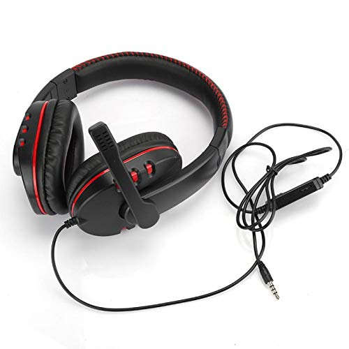 gostcai Head-Mounted Gaming Headphone,Wired Noise Reduction Headset with Microphone for Gaming/Listening/Chatting,Ergonomic Over Ear Headphone with Soft PU Earmuffs(Red)