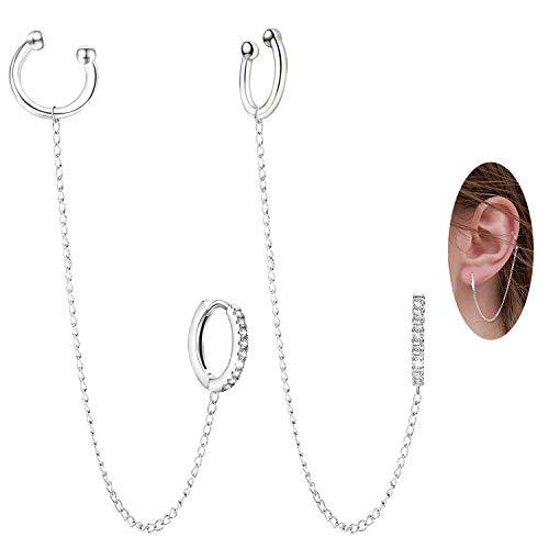 Crystal Hoop Ear Cuff Pendientes - Plata esterlina Hipoalergénico Cubic Zirconia Ear Cuff Pendientes Cadena Redonda CZ Huggie Pendientes Cartílago Pendientes Regalo para mujeres