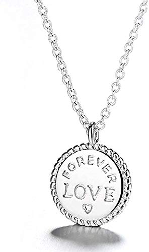 YZXYZH Collar Collares De Plata Carta Simple Gargantillas Redondas Collares para Mujeres Niñas Joyería Colgantes De Amor Collares Día De San Valentín Collar