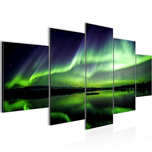 Runa Art - Quadri Aurora 200 x 100 cm 5 Pezzi XXL Decorazione Murale Design Verde Blu 609151a