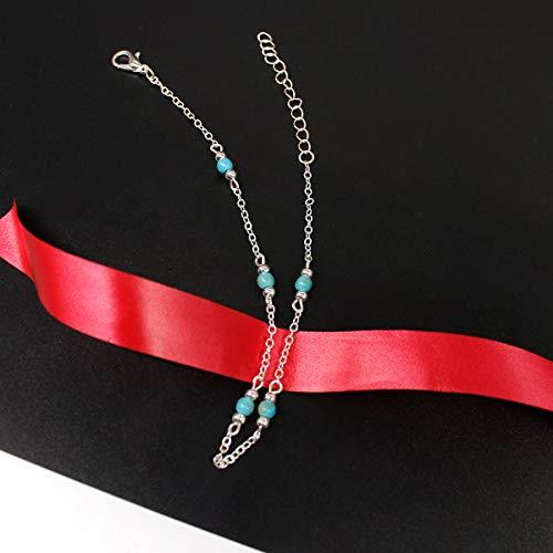 Yienate Bracelet de cheville simple fait à la main avec perles pour femme et fille