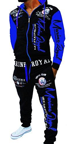 Yalvis Herren Trainingsanzug Jogginganzug Sportanzug ARMS (Schwarz-blau, XS)