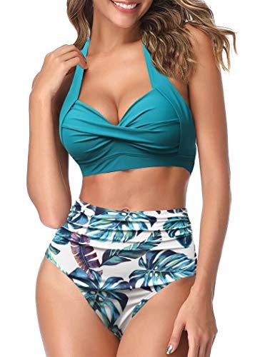 AOQUSSQOA Traje de baño de dos piezas para mujer, tankini, cintura alta, vintage, bikini azul marino S