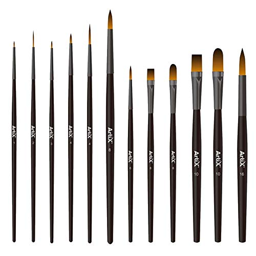 Artix PRO Juego de 12 Pinceles Pintura Acrilica Sinteticos Profesionales para Pintura Acrilica, Acuarela, Tempera