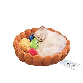 Hongyh Coussin pour animal domestique Lit Matelas Cat Soft Parure de lit chaud Chiot Lit Tapis avec sortes de fruits formes pour chiot Chats couchage allongé jouer