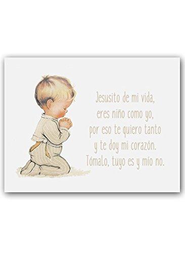 CUADRIMAN Cuadro de Niño Rezando con Oración - Pequeño - Lienzo Liso Beige - 25 x 32 cm - Decoración para El Dormitorio o Habitación