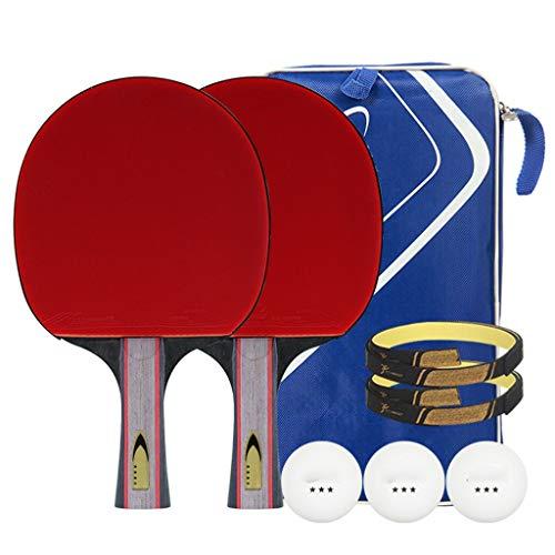 Raqueta de tenis capaces, principiante de 3 estrellas situado raqueta de ping-pong, 2 paquetes, equipado con 3 bolas y bolsa de almacenamiento portátil, mango largo / corto mango, la oficina, la famil