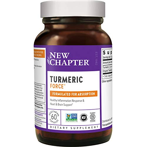 New Chapter Turmeric Supplement, One Daily, Joint Pain Relief + Supercritical Organic Turmeric, Black Pepper Not Needed, Non-GMO, Gluten Free – 60 Count (2 Month Supply)