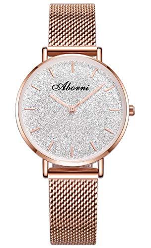 MLHXHX Reloj de mujer con diseño de cielo estrellado a la moda, resistente al agua, reloj de cuarzo simple para estudiantes, color dorado y plateado