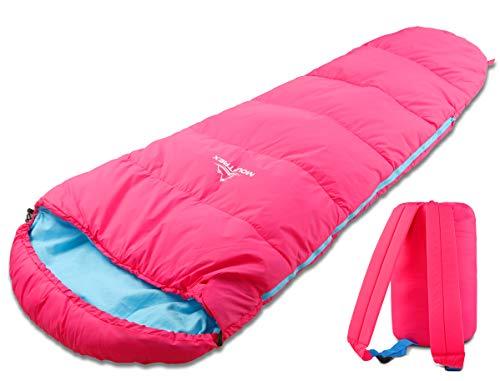 MOUNTREX® Saco de dormir para niños – Portátil como una mochila (175 x 70 x 45 cm) – Exterior, viaje, acampada, camping – Saco de dormir momia ligero y compacto – 100% algodón forro interior