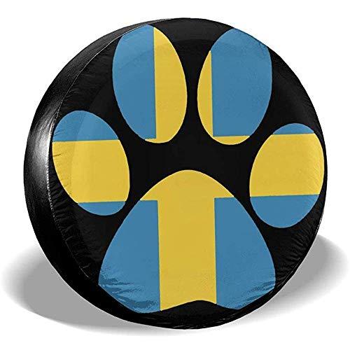Niet bruikbare Wheel Tire Cover pootafdrukken Zweedse vlag zonwering wiel regenbescherming banden diameter banden voor aanhangers SUV verschillende voertuigen 15in/70~75cm 4 X 100 M