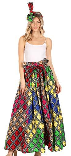 Sakkas 16317 - Falda Larga con Correa Ajustable y Estampado de Cera Tradicional Asma Convertible   Vestido - 94-Multi - OS