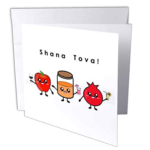 shana tova rosh hashanah card with sweet cute kawaii cartoon
