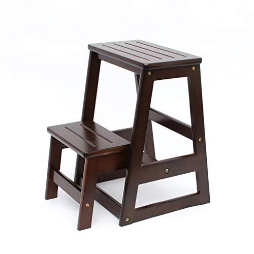 WLD Taburete escalonado, madera maciza, color miel y nogal, taburete alto plegable, silla de cocina para el hogar Escalera Escalera de dos escalones de doble uso Ascend Banco portátil Silla multifunc