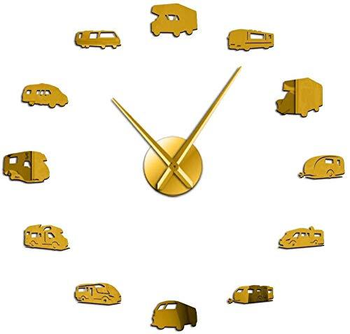 Reloj de pared grande Reloj de cocina Reloj de pared Bus RV Decoración familiar RV Camping DIY Reloj de pared gigante Remolque de viaje Transporte Vehículo recreativo Gráfico de pared 30 x 30 cm Con