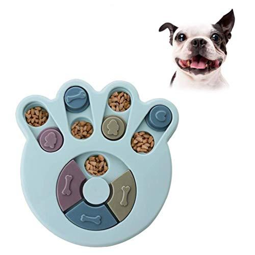 Puzzle perro alimentador de juguetes, juguete interactivo duradero perro, perros Brain Games, Mejora de los suministros para mascotas IQ (azul, Garra)