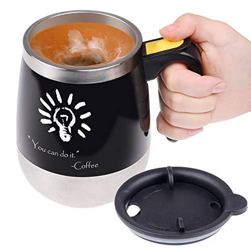 Kare Tasse à café à Agitation Automatique - Tasse à mélanger Automatique en Acier Inoxydable - pour mélanger Votre café, thé, Chocolat Chaud, Lait, Boisson protéinée - pour Bureau, école - 400ml