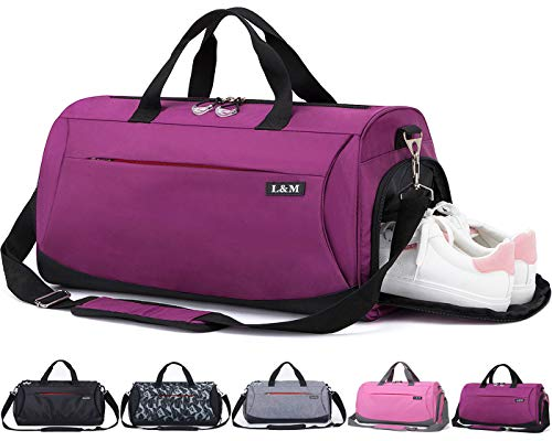 CoCoMall Sports Gym Bag with Shoes Compartment and Wet Pocket, Travel...