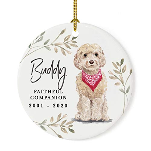 Andaz Press Personalized Round Porcelain Ceramic Christmas Dog Memorial Ornament, Faithful Companion, Champagne Cockapoo, Custom Name and Year, Pet Memorial Christmas Ideas, 1-Pack