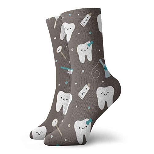 Generic Die gedruckten lustigen Neuheit-beiläufigen Mannschafts-Kleid-Socken der glücklichen Zahn-Männer für Frauen/Unisex 19,7 Zoll