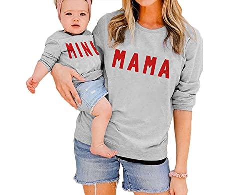 Eghunooye Mutter Tochter Sweatshirt Damen Kinder Baby Mädchen Herbst Casual Pullover Langarmshirt mit Mama/Mini Aufdruck Familie Kleidung Partnerlook Outfits Sweatshirts Outwear (Grau Mutter, M)