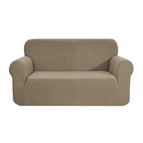 E EBETA Funda de sofá, Tejido Jacquard de poliéster y Elastano, Funda de Clic-clac elástica Cubiertas de sofá de 2 Plaza (Color Arena, 145-185 cm)