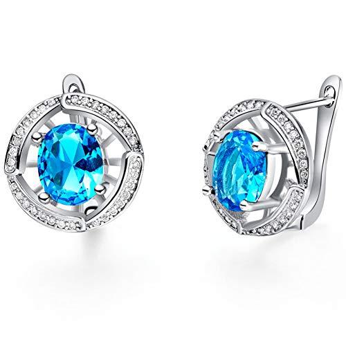 FGFDHJ Pendientes de joyería de plata 925 con aretes de piedras preciosas de zafiro y circonita de forma ovalada de 8 * 10 mm para boda de mujer